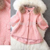 2014 New Fashion Clothing winter  Coat Women's Fashion small popper Raccoon Fur Woolen Outerwear