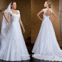 Elegant Lace Straps Sweetheart Open Back White Dress Wedding 2015 Robe De Mariage Women Vestidos De Novia
