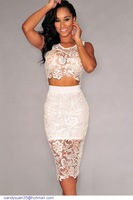 White Floral Lace Skirt Set LC6798