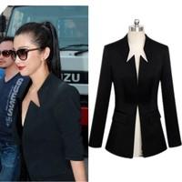 Free Shipping Spring Small Suit Overcoat Medium-Long Slim Plus Size Long Sleeve Stand Collar Ladies Blazer XXXL Plus Size