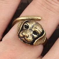 New 10pcs Vintage Retro Jewellry Bronze Metal Lovely Pet Animal Dog Ring Adjustable Women Men anel Nice Gift