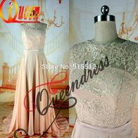 Real 2014 Scoop Neckline Light Coral Chiffon Embroidery Design Vestido de Noite Latest Designs Formal Evening Gown Designs
