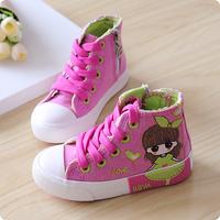 2014 autumn child canvas shoes high female child princess single sneaker shoes sport shoes girls shoes