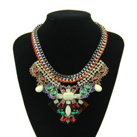 Brand Women Fashion Handwoven Box Chain Crystal Pendant Necklace Luxury Jewelry Choker Statement Necklaces & Pendants
