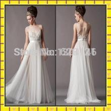 20152014 Illusion Beach Bridal Gowns Sheer Back Bridesmaid/Evening Dress Ruffled Summer Garden/Beach Long A-Line Wedding Dresses(China (Mainland))
