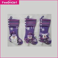 Wholesale Christmas Decoration Supplies 100pcs/lot,Christmas Decoration gifts,Chrismas Snowman,Purple Christmas Socks,Warm Socks