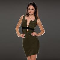 2015 New Arrival Sexy Dress Women Sleeveless V-neck Bodycon Green Dresses Womens Clubwear free shipping dorp shipping