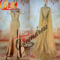 Vestido de Noite 2014 Real Sweetheart Neckline Champagne Color Slit With Long Drape Two Piece Evening Dress