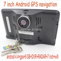 7 inch Capacitive Screen Android 4.4 Vehicle GPS Navigation Car GPS Navigator recorder Car Radar Detector DVR,Wifi, Free Map