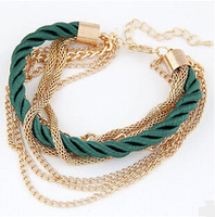 Fashion Popular Low key Luxurious Metal Chain Braided rope Multilayer bracelet Anklets for women 2014 wholesale