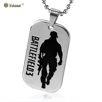 Bahamut titanium steel jewelry The Battlefield 3 military card Pendants Collectors Edition Men's Necklace Free shipping