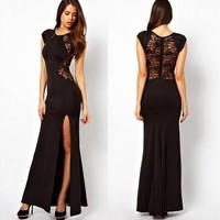 Summer Long Dresses 2015 New Sexy Deep O-Neck White Maxi Dress Long Sleeve Novelty Chiffon Long Dress Evening Party Dress TND033