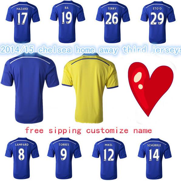3AAA+ Top Thai 2015 2014 Chelsea adizero jerseys player version football shirts soccer clothing TORRES HAZARD FABREGAS(China (Mainland))