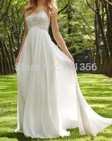 2015 Chiffon Empire Sweetheart With Beading Wedding Dress US Size2 4 6 8 10 12 14 16