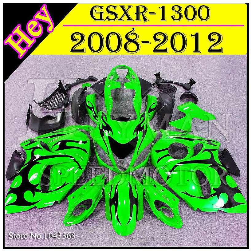 * flames green ABS Fairing For Suzuki GSX R1300 2008 2009 2010 2011 2012 GSXR-1300 08-12 Bodywork for GSX R1300 Hayabusa GSXR130(China (Mainland))