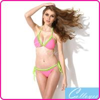 Colloyes 2014 New Sexy Bikini Set Swimwear Pink + Green Lace Triangle Top with Classic Cut Bottom Women Swimsuit