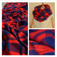 European and American brands plaid shawl amice Unisex hit the color red and blue scarf  fashion stitching long plaid scarf