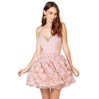 Vestidos Fashion women's Cuter pink sexy backless Ball Gown dress ladies elegance V-Neck chiffon spaghetti strap empire dress