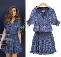 2014 European Brand Star Style Women Summer Casual Floral Print Dresses Ladies Vintage Girl Cute Dress Vestidos Free Shipping