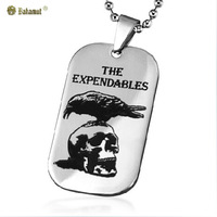 Bahamut titanium steel jewelry The Expendables The military card Pendants Men's Necklace Male ornaments Free shipping