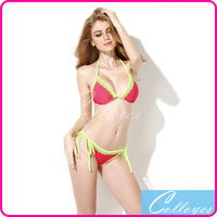 Colloyes 2014 Bikinis Set Swimwear Watermelon Red + Double Green Lace Trim Triangle Top with Classic Cut Bottom Bathing suit