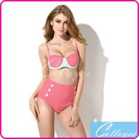 Colloyes 2014 New Sexy Women Bikinis Set Swimwear Polka Dot with Bandeau Top and High-waist Bottom Biquinis Swimsuit