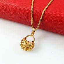 Fashion 24k Gold Fine Pierced Bag Pendant Necklaces Box Chain Free shipping Top Quality Chrismas Women's Jewlery A147