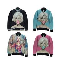 3D stereoscopic  Monroe pattern space cotton long-sleeved jacket male and female couple baseball uniform jacket