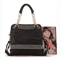 New Arrival2014 genuine leather women handbag Fashion woven handbag with diamond vintage women shoulder bag women messenger bag