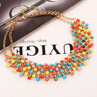 2014 New Arrival Elegant Luxury Multilayer All-match Resin Collar Choker Necklace,Chunky Statement Bib Necklace For Women XLL009