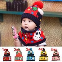 Hot polka dot Pocket rabbit children children's winter hats scarf + Hat set Hat