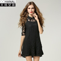fall European brand plus size women dresses with cutout lace two piece sets