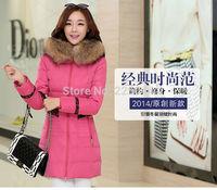 2014 New Women Winter Duck Down Long Racoon Fur Collar Hooded Coat Jacket Parka