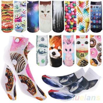 3D печатных унисекс мужские женские Harajuku стиль симпатичные глубоким вырезом носки ...