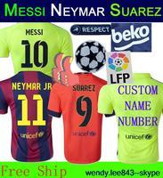Big LFP Patch Champions League Thailand Soccer Jersey Messi Suarez Neymar JR 14 15 Rakitic Yellow Home Red Thai Kit