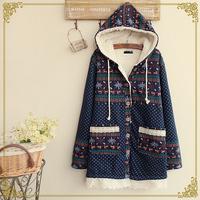 Winter women's onta patchwork print dot plus velvet with a hood wadded jacket Snow Wear coat