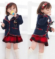 College style girls coat with medal and Short skirt 2pieces sets