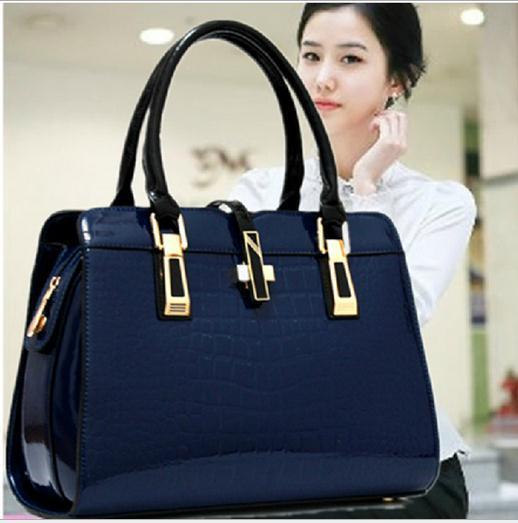 2015 New Fashion Alligator Women Bag High Quality Patent Leather Crocodile Pattern Tote Women Handbag Designer Shoulder Bags(China (Mainland))