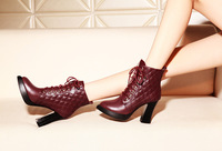 2014 newest high heel antislip bottom winter short maroon/black patent leather boots with checkered decoration