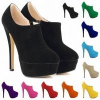 2014 autumn high heel ankle boots black zipper platform flock brand shoes women sex party dress boots shoes  us 4-11