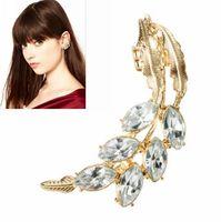 Fashion Jewellery Alloy Earrings Jackets Women Gold Leaf Ear Jacket with Rhinestones Fine  Jewelry Silver Flower A05024