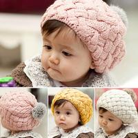 Rabbit fur ball child hat ear protector cap baby beret hats