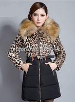 New Winter Women Down Cotton Long Fur Collar Leopard Hooded Coat Jacket Parka