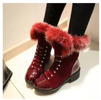 Women's Winter Fur Ankle Boots Low Heels Winter Snow Boots Women Shoes Woman Female SZHP Y-d808