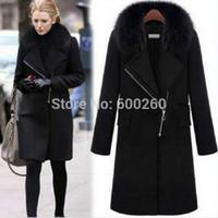 Hot Sale NEW WOMENS Winter Warm Fur Collar Thicken Wool Coat lapel Zipper JACKET free shipping