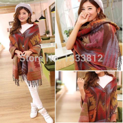 Free Shipping Women Pashmina Fashion Oversized Cardigan Tribal Pattern Poncho Cape Shawl Scarf Coat(China (Mainland))