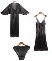 Women Silk lace Robe set Gown+Robe+Pantie Black see through sexy Bathrobe Sleepwear set accappatoio roupao de banho Bademantel