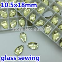 140pcs/box 10.5x18mm Drop Water Sew On Crystal Rhinestone Lt yellow Jonquil Color Foiled Flatback 11x18mm Pear Drop sewing