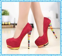 fashion printed girls sexy thin high heels shoes spring autumn ladies shoes woman 2015 platform women pumps party shoes C741