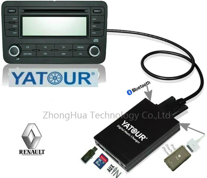 Yatour YTM07 Digital changer USB SD AUX Bluetooth ipod iphone interface for Renault VDO/Blaupunkt quadlock 12pin fakra 2009+(China (Mainland))
